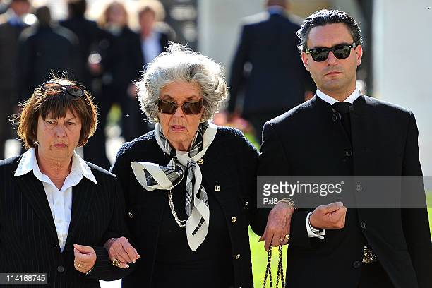 Marianne Furstin zu SaynWittgensteinSayn and mourners attend Gunter Sachs' funeral service held Mauritiuskirche on May 13 2011 in Saanen Switzerland...