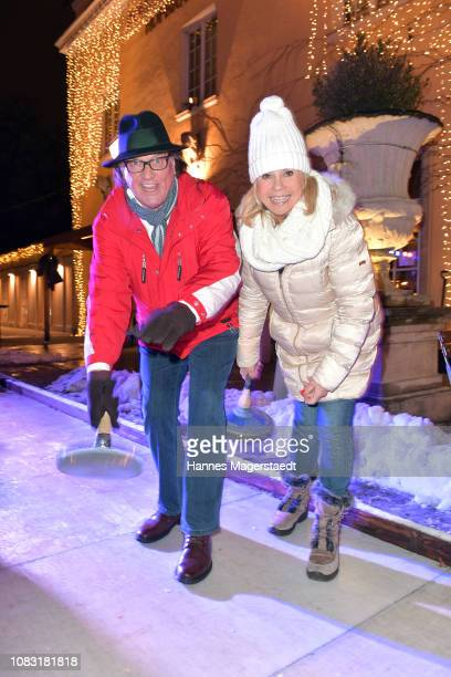 Marianne Hartl and her husband Michael Hartl attend the Angermaier 'Eisstock WM' at Park Cafe on January 15 2019 in Munich Germany