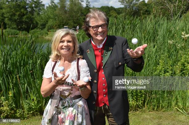 Marianne Hartl and her husband Michael Hartl during the 7 M M EAGLES Charity LEDERHOS'N Golf Cup 2018 at Golfclub Castle EGMATING on June 22 2018 in...