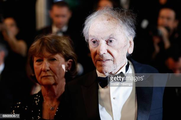 "Marianne Hoepfner and Jean-Louis Trintignant attend the ""Happy End"" screening during the 70th annual Cannes Film Festival at Palais des Festivals on..."