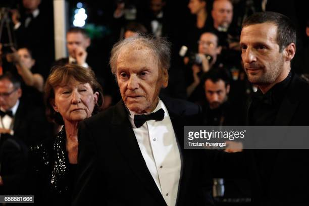 "Marianne Hoepfner, Jean-Louis Trintignant, and Mathieu Kassovitz attend the ""Happy End"" screening during the 70th annual Cannes Film Festival at..."