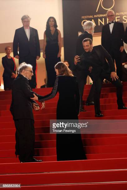 "Marianne Hoepfner, Jean-Louis Trintignant, Isabelle Huppert, and Mathieu Kassovitz attend the ""Happy End"" screening during the 70th annual Cannes..."