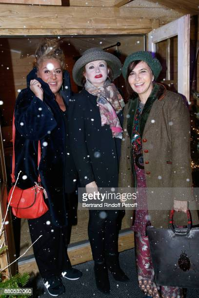 Marianne James Catherine Jacob and Nathalie Garcon attend the Inauguration of the 'Chalet Les Neiges 1850' on the terrace of the Hotel 'Barriere Le...