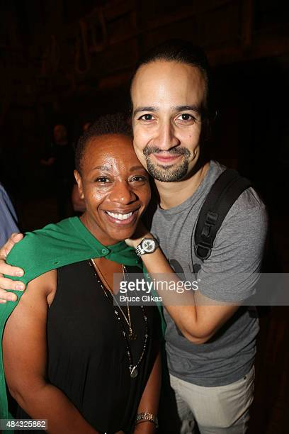 Marianne Jean Baptiste and Lin Manuel Miranda pose backstage at the hit musical Hamilton on Broadway at The Richard Rogers Theater on August 16 2015...