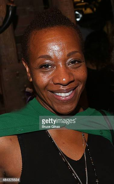 Marianne Jean Baptiste poses backstage at the hit musical Hamilton on Broadway at The Richard Rogers Theater on August 16 2015 in New York City