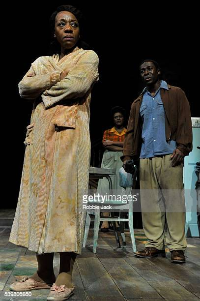 Marianne JeanBaptiste as Margaret Alexander Sharon D Clarke as Odessa and Eric Kofi Abrefa as David in James Baldwin's The Amen Corner directed by...
