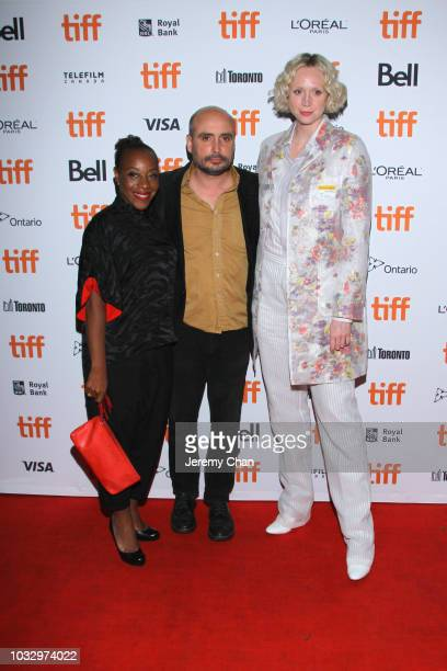 Marianne JeanBaptiste Peter Strickland and Gwendoline Christie attend the 'In Fabric' premiere during 2018 Toronto International Film Festival at...