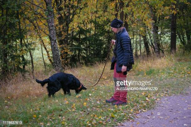 Marianne Mayer dog trainer and promoter of a campaign that aims to give dog poo a new life trains one of her dogs in Vantaa Finland on October 7 2019...
