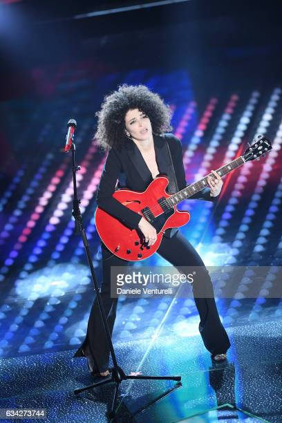 Marianne Mirage attends the second night of the 67th Sanremo Festival 2017 at Teatro Ariston on February 8 2017 in Sanremo Italy