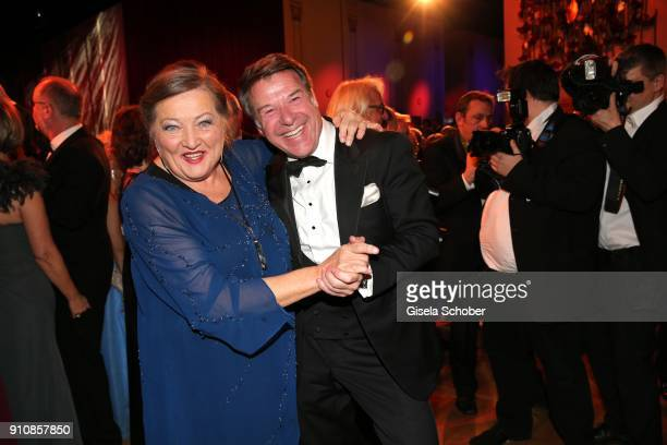 Marianne Saegebrecht and Patrick Lindner dance during the Semper Opera Ball 2018 at Semperoper on January 26 2018 in Dresden Germany