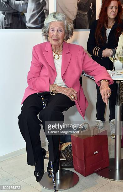 Marianne SaynWittgensteinSayn during the presentation of her Photo Collection at Jan B Luehn Classic Car Showroom on November 10 2016 in Munich...