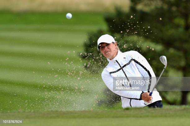 Marianne Skarpnord of Norway plays from a bunker on hole eight during day two of the European Golf Team Championships at Gleneagles on August 9, 2018...