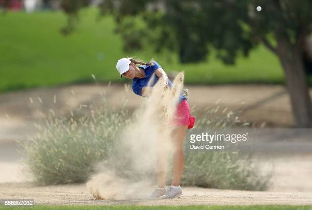 Marianne Skarpnord of Norway plays her second shot on the par 4 12th hole during the third round of the 2017 Dubai Ladies Classic on the Majlis...