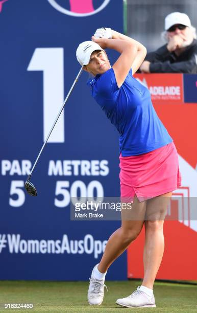 Marianne Skarpnord of Norway tees off the first during day one of the ISPS Handa Australian Women's Open at Kooyonga Golf Club on February 15 2018 in...