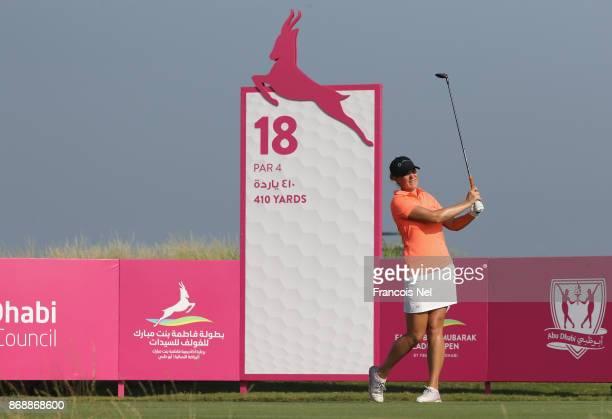 Marianne Skarpnord tees off on the 18th hole during Day One of the Fatima Bint Mubarak Ladies Open at Saadiyat Beach Golf Club on November 1 2017 in...