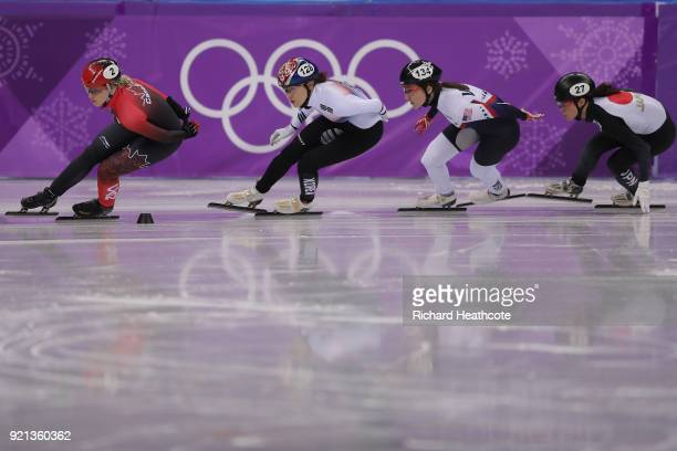 Marianne St Gelais of Canada Alang Kim of Korea Lana Gehring of the United States and Sumire Kikuchi of Japan during the Ladies Short Track Speed...