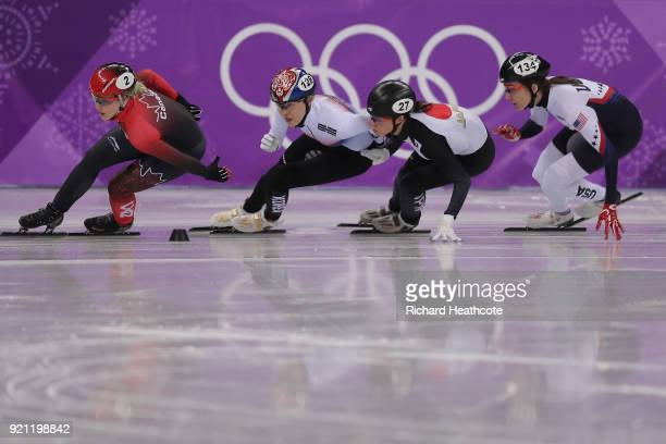 Marianne St Gelais of Canada Alang Kim of Korea Sumire Kikuchi of Japan and Lana Gehring of the United States compete during the Ladies Short Track...