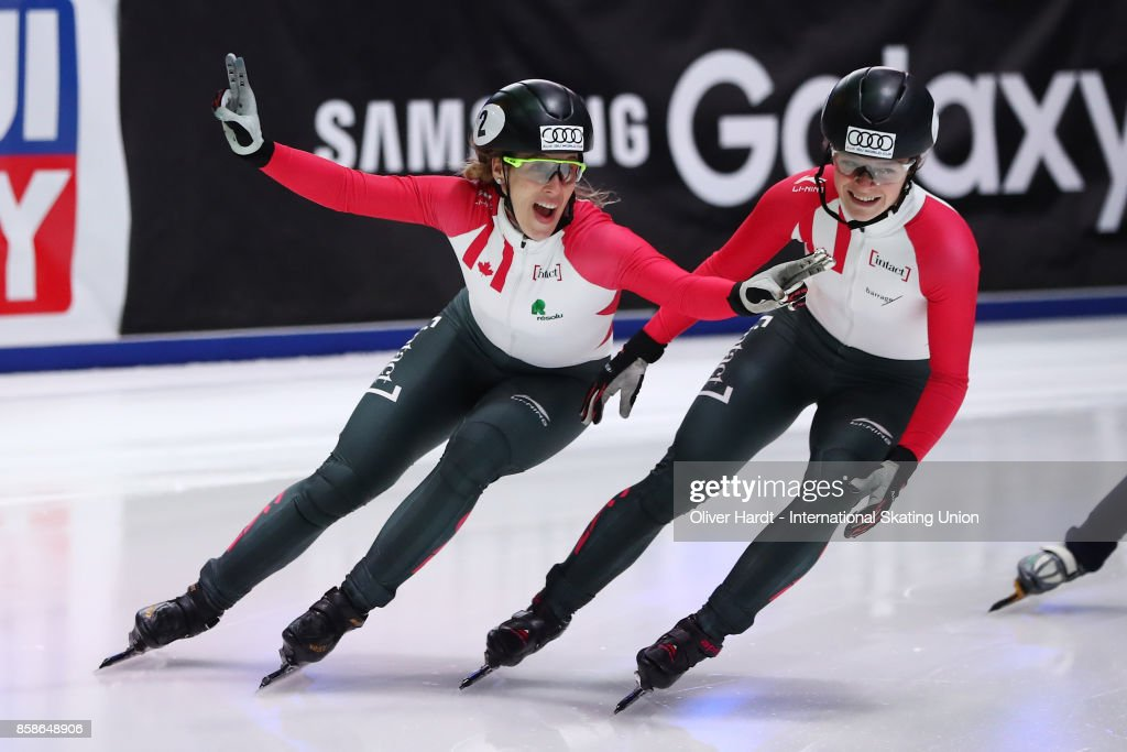 Marianne St Gelais (L) of Canada celebrate after the Ladies 500m final race during the Audi ISU World Cup Short Track Speed Skating at Optisport Sportboulevard on October 7, 2017 in Dordrecht, Netherlands.