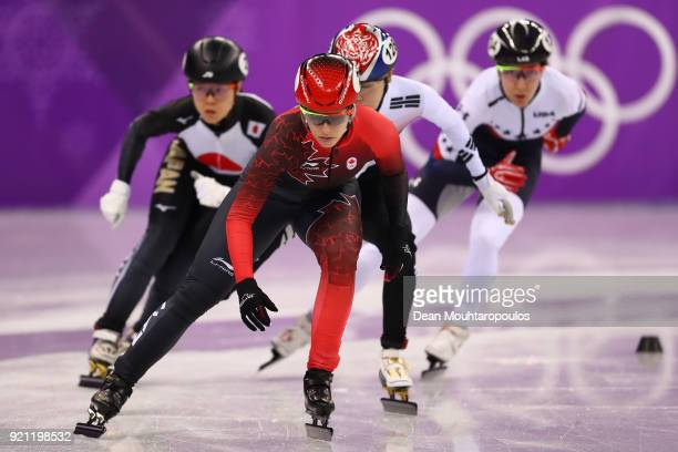 Marianne St Gelais of Canada competes during the Ladies Short Track Speed Skating 1000m Heats on day eleven of the PyeongChang 2018 Winter Olympic...