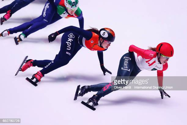 Marianne St Gelais of Canada competes in the Ladies 1000m semi finals race during day two of ISU World Short Track Championships at Rotterdam Ahoy...