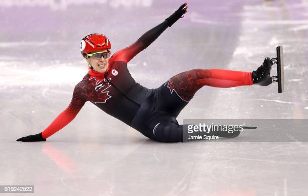 Marianne St Gelais of Canada falls during the Short Track Speed Skating Ladies' 1500m Semifinals on day eight of the PyeongChang 2018 Winter Olympic...