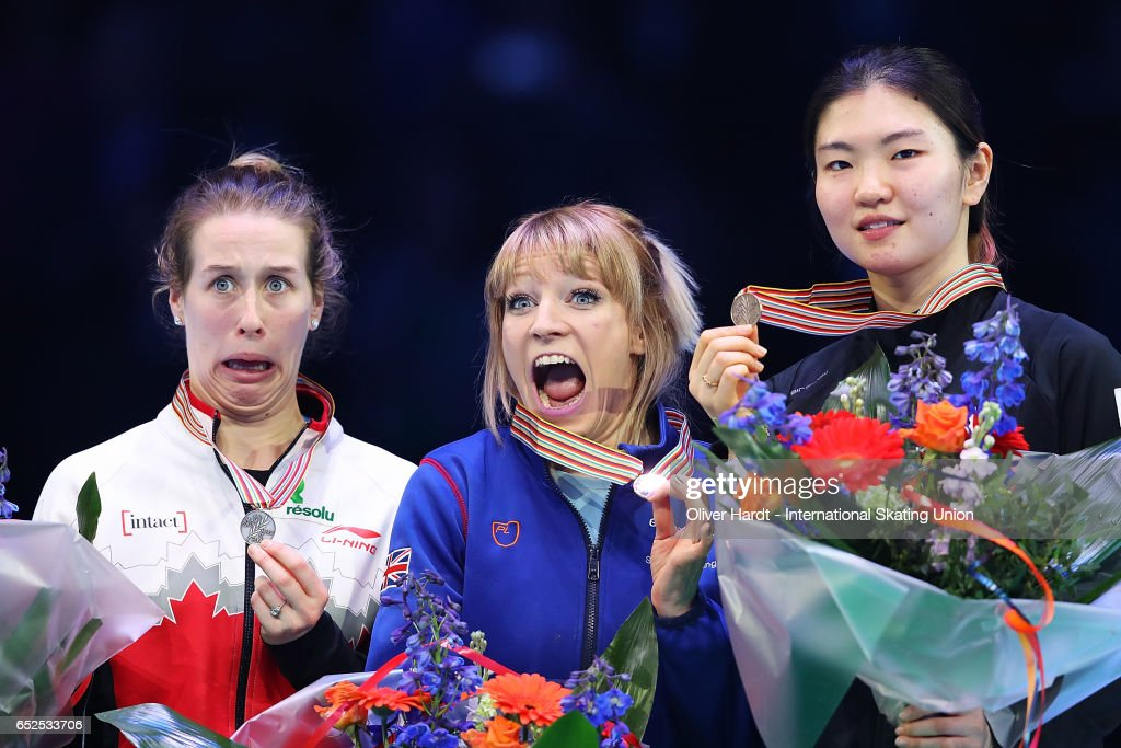 Marianne St Gelais of Canada with the silver medal, Elise Christie of Great Britain with the gold medal and Shim Suk Hee of Korea with the bronze medal celebrate after the Ladies overall ceremony during day two of ISU World Short Track Championships at Rotterdam Ahoy Arena on March 12, 2017 in Rotterdam, Netherlands.