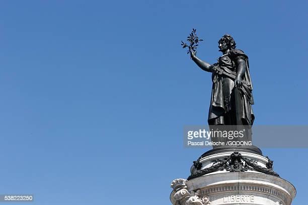Marianne. Statue of the Republic. Republic Square in Paris.