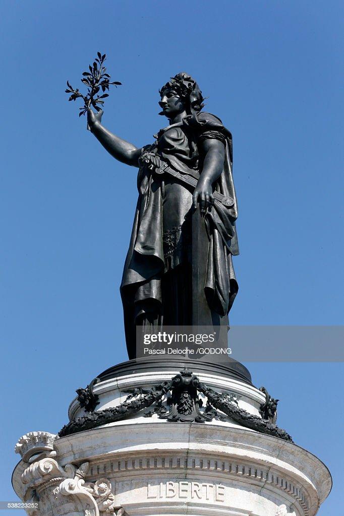 Marianne. Statue of the Republic. Republic Square in Paris. : Stock Photo