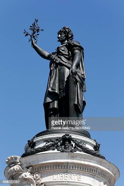 marianne. statue of the republic. republic square in paris. - place de la republique paris stock pictures, royalty-free photos & images