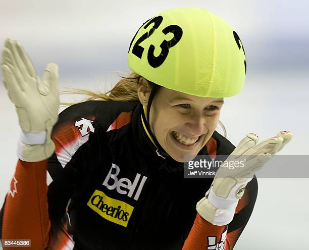 Marianne StGelais of Canada celebrates after her second place finish in the ladies 500m final at the ISU World Cup Speed short track speed skating on...