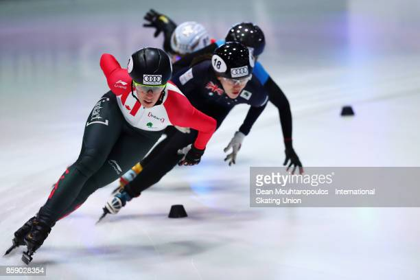 Marianne StGelais of Canada competes in the 1000m Womens Quarter Finals during the Audi ISU World Cup Short Track Speed Skating at Optisport...