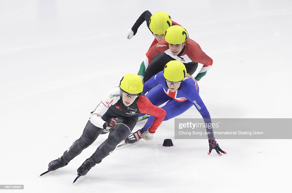 Marianne St-Gelais of Canada, Elise Christie of Great Britain and Andrea Keszler of Hungary compete in the Ladies 500M Quarterfinals during the ISU World Cup Short Track Speed Skating 2014/15 - Seoul at Mokdong Ice Rink on December 21, 2014 in Seoul, South Korea.