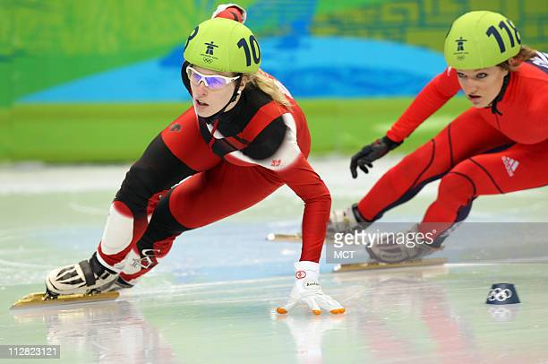 Marianne StGelais of Canada leads her quarterfinal heat of the women's 500meter short track race on Wednesday February 17 during the 2010 Winter...