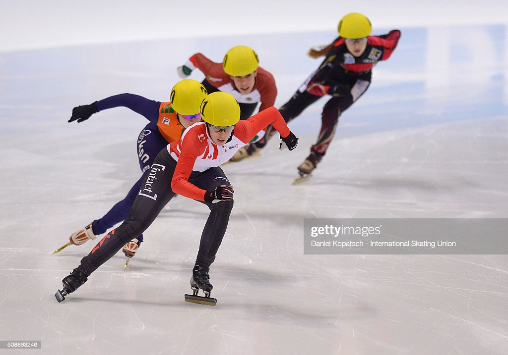 Marianne St-Gelais of Canada leads the Ladies 500 M Quarterfinal during day two of the ISU World Cup Short Track Speed Skating at EnergieVerbund Arena on February 7, 2016 in Dresden, Germany.
