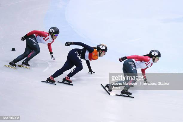 Marianne StGelais of Canada leads the pack in the Ladies 1000m final during day one of the ISU World Cup Short Track at EnergieVerbund Arena on...