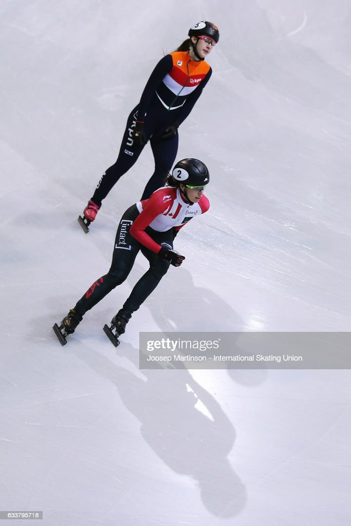Marianne St-Gelais of Canada reacts in the Ladies 1000m final during day one of the ISU World Cup Short Track at EnergieVerbund Arena on February 4, 2017 in Dresden, Germany.