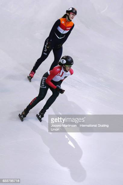 Marianne StGelais of Canada reacts in the Ladies 1000m final during day one of the ISU World Cup Short Track at EnergieVerbund Arena on February 4...