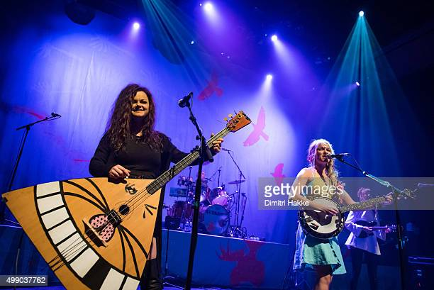 Marianne Sveen and Solveig Heilo of Katzenjammer perform on stage at Paard on November 21 2015 in The Hague Netherlands
