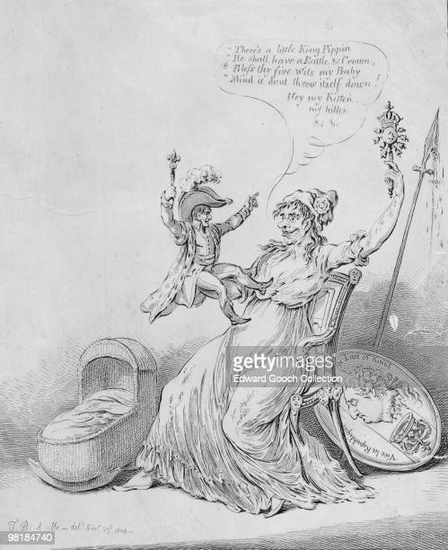 Marianne the female personification of France with the Emperor Napoleon I sitting on her lap 1804 Behind her is the image of the executed King Louis...