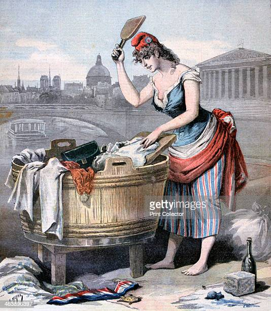 'Marianne the Queen of the Washerwomen' 1893 A print from the Le Petit Journal 25th February 1893