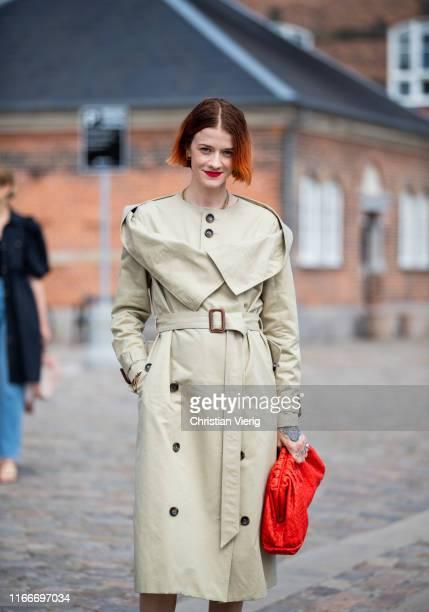 Marianne Theodorsen seen wearing trench coat outside Rodebjer during Copenhagen Fashion Week Spring/Summer 2020 on August 07 2019 in Copenhagen...