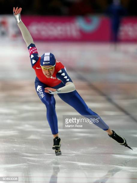 Marianne Timmer of Netherlands competes in the women 500 m Division A race during the Essent ISU World Cup Speed Skating on November 8 2009 in Berlin...