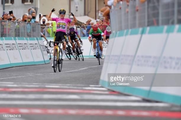 Marianne Vos of Netherlands and Jumbo Visma Team Purple Points Jersey stage winner celebrates at arrival, Elisa Longo Borghini of Italy and Team Trek...