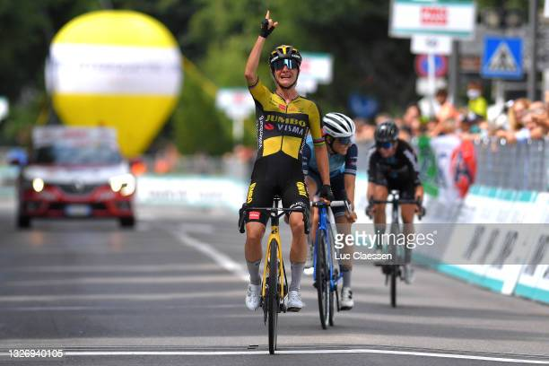Marianne Vos of Netherlands and Jumbo Visma Team stage winner celebrates at arrival & Lucinda Brand of Netherlands and Team Trek - Segafredo during...