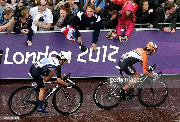 Marianne Vos of Netherlands, leads Elizabeth Armitstead, of Great Britain, into the final stretch during the Women's Road Race Road Cycling Day 2 of...