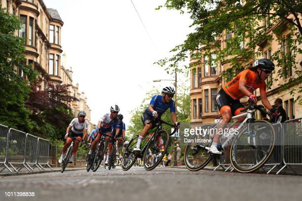 Marianne Vos of the Netherlands competes in the Women's Road Race during the Road Cycling on Day Four of the European Championships Glasgow 2018 at...