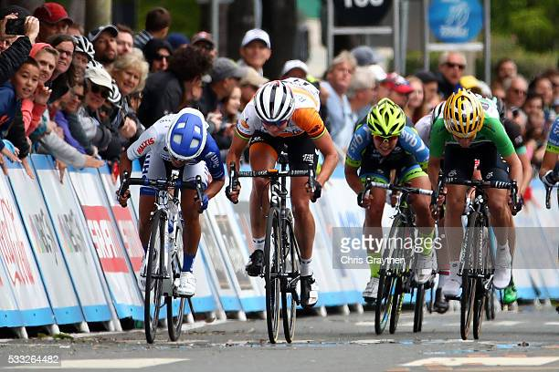 Marianne Vos of the Netherlands riding for RaboLiv Women Cycling Team sprints for the finish during stage three of the Amgen Breakaway from Heart...