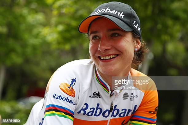 Marianne Vos of the Netherlands riding for RaboLiv Women Cycling Team celebrates after winning stage three of the Amgen Breakaway from Heart Disease...