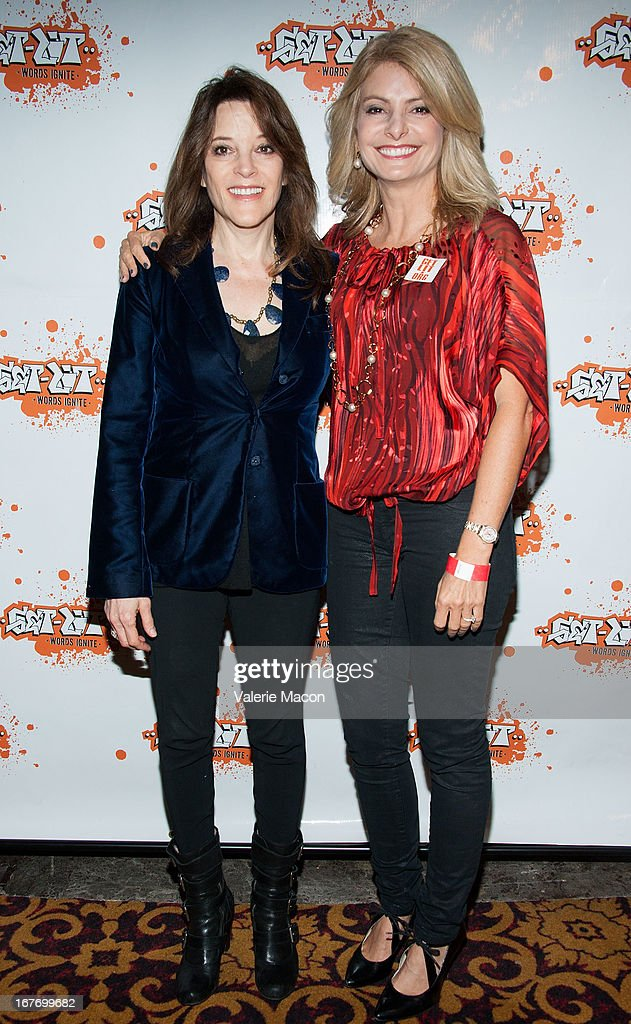 Marianne Williamson and Lisa Bloom attend Get Lit Presents The 2nd Annual Classic Slam at Orpheum Theatre on April 27, 2013 in Los Angeles, California.