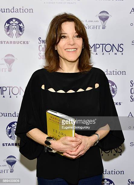 Marianne Williamson attends the Authors Night For The East Hampton Library at The East Hampton Library on August 13, 2016 in East Hampton, New York.